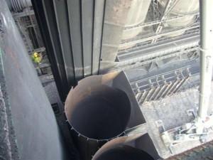 widok z góry na nieczynną baterię koksowniczą