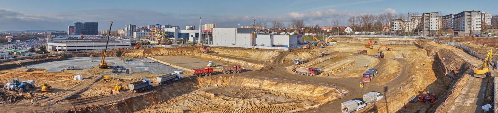 panorama na plac budowy galerii olsza mall